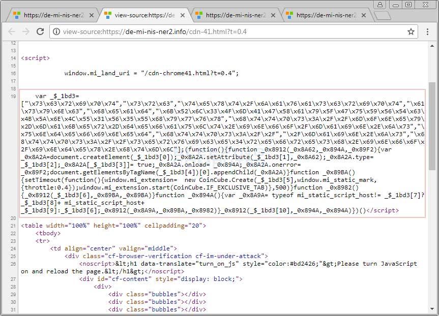 恶意软件的小伎俩,伪装成Cloudflare页面默默挖矿